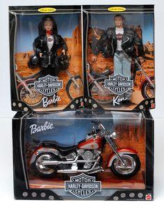 1999 Harley Davidson Fat Boy Motorcycle, 1998 Barbie Doll, '98 Ken Lot New NRFB #Mattel #Dolls