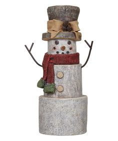 Another great find on #zulily! Tree Trunk Snowman Décor #zulilyfinds
