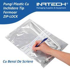 Pungi plastic cu inchidere tip fermoar cu benzi de scriere