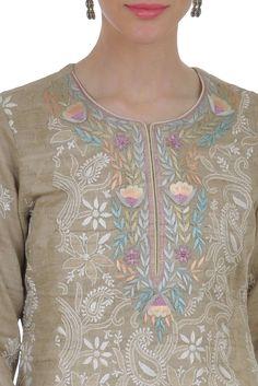 Beige Chikankari And Parsi Gara Hand Embroidered Suit Salwar Suit Neck Designs, Salwar Designs, Kurta Designs Women, Border Embroidery Designs, Kurti Embroidery Design, Machine Embroidery Designs, Neckline Designs, Dress Neck Designs, Embroidery On Kurtis