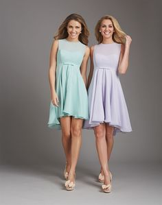 Flattering bridesmaid dress, perfectly on-trend, featuring an illusion neckline, keyhole back and a slight high-low hemline.  Would flatter most shapes.  From Allure Bridal.