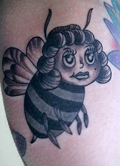 Honey bee tattoo by Justin Dion at Anatomy Tattoo in Portland, OR. www