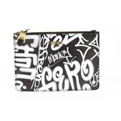 Moschino A8414 Women's Leather Clutch, Black & White