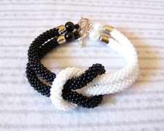 SALE  Beadwork  Bead Crochet Bracelet in black and white