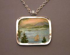 Maine Landscape, necklace. Silver, enamel, fine silver handwoven chain. 3.2 x 3.8 cm. SOLD