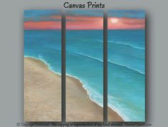 Sunset seascape art for your tan, teal & coral home or office decor by Denise Cunniff - ArtFromDenise.com. View more info at https://www.etsy.com/listing/201183154/large-wall-art-seascape-ocean-water