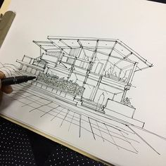 This photo is definitely an inspiring and top notch idea Architecture Sketchbook, Architecture Plan, Architecture Diagrams, House Sketch, House Drawing, Conceptual Drawing, Roof Design, Urban Sketching, Sketch Design