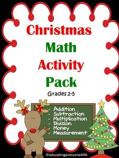 Christmas:  Math Activity Pack - A fun filled Christmas math activity book.  #tpt  #christmas #math