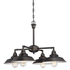 Westinghouse Iron Hill Four-Light Indoor Convertible Chandelier/Semi-Flush Ceiling Fixture. Iron Hill Four-Light Indoor Convertible Chandelier/Semi-Flush Ceiling Fixture Oil Rubbed Bronze Finish with Highlights and Metallic Bronze Interior Bronze Chandelier, Chandelier Shades, Chandelier Lighting, Linear Chandelier, Barn Lighting, Ceiling Pendant, Pendant Lights, Outdoor Lighting, Nautical Lighting