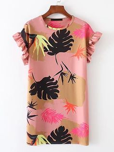Shop Ruffle Sleeve Tropical Print Dress online. SheIn offers Ruffle Sleeve Tropical Print Dress & more to fit your fashionable needs.