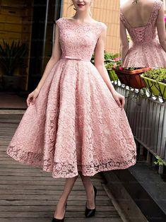 Beautiful Bateau Lace up A-line Princess Lace Prom Dresses - by OKDress UK 5e69b2c4f471