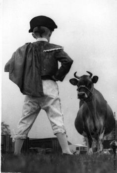 1960: A boy, dressed as a toreador, faces a large prize-winning Jersey cow at a Scottish agricultural show