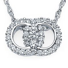 """Diamond Marriage Symbol 14k white gold pendant: 2 interlocking circles w/1-.25ct, 2-.12ct and 32-.04ct round brilliant-cut diamonds SI H-I 35=1.93ct total weight prong set in pendant stamped: DIAMOND MARRIAGE SYMBOL I FOREVER DO on 18"""" 14k white gold rope chain"""