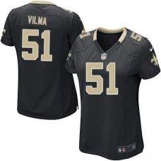 NFL  Women's Elite Nike New Orleans Saints #51 Jonathan Vilma Team Color Black Jersey