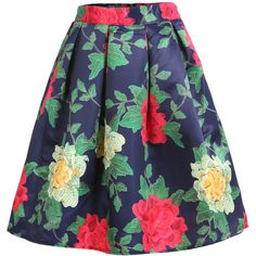 Romwe With Zipper Florals Flare Skirt ($15) ❤ liked on Polyvore featuring skirts, bottoms, multicolor, circle skirt, floral print a-line skirt, floral skirt, floral circle skirt and knee length skirts