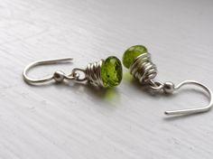 August Birthstone Earrings in Sterling Silver and by MarlasJewelry, $25.00 #peridot #green #AAAquality #handmade #jewelry