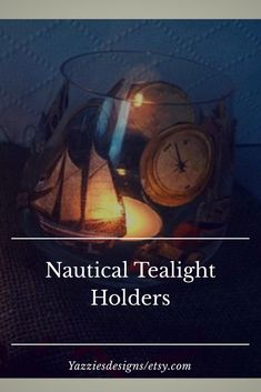 Excited to share this item from my shop: Nautical candle holders - beach tealigt holder set - glass tea light holders - decoupage tealight holders - nautical decor - rustic decor Nautical Theme Bedrooms, Nautical Bathroom Design Ideas, Nautical Nursery Decor, Nautical Bathrooms, Nautical Home, Nautical Wedding, Coastal Decor, Rustic Decor, Nautical Candle Holders