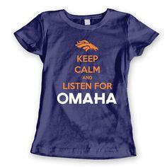OMAHA Keep Calm PEYTON MANNING - funny denver broncos super bowl football  jersey superbowl new tee shirt - Womens Navy T-shirt cd0d59095