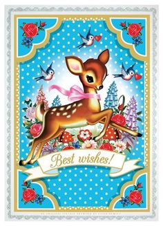 Beautiful postcard with the illustration Fiona Hewitt for Cotton Candy chronicles. Printed on 300 grs with a silver glitter edge. Also great in a frame for the bedroom . Vintage Cards, Vintage Postcards, Vintage Images, Vintage Pictures, Motif Vintage, Vintage Patterns, Retro Vintage, Oh Deer, Baby Deer