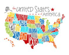 US Map United States Of America Playroom Art Classroom Teacher - Us map with state names