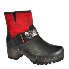 SOFTCLOX Ilka Gauchonappa Karo schwarz #softclox #soft #clogs #munich #muc #red #black #woddensole