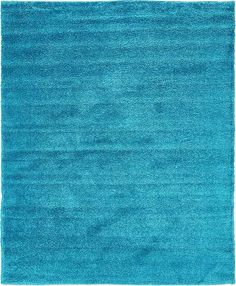 Turquoise Solid Frieze Area Rug