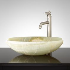 Jaden Green Onyx Vessel Sink ***(unique coloring with redish-brown and white marbling)