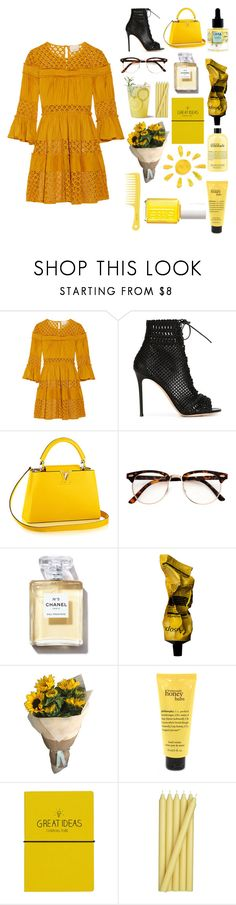 """""""Sunshine"""" by radicalelliot ❤ liked on Polyvore featuring Cinq à Sept, Gianvito Rossi, Uma Oils, Chanel, Aesop, Essie, philosophy, Wild & Wolf and Crate and Barrel"""