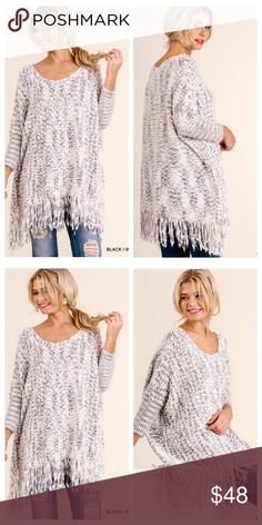 Black and white dreamer fringe sweater Fringe chunky knit sweater ⭐️Small 0-4 Medium 4-8 Large 8-12       ⭐shop here or at shopluckyduck.com    ⭐️️please use buy it now or add to bundle feature to purchase.  ⭐️30% off bundles of 3! Sweaters
