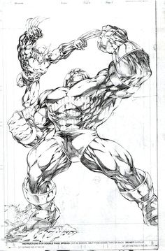 A great pencil sketch of Juggernaut & Wolverine. How awesome would it be to own this original?
