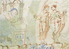 The Harley Psalter, MS Harley 603 (Christ Church, Canterbury, first half of 11th century), folio 1v, detail.