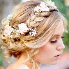 Grecian hairstyle engagement wedding idea braid