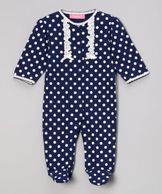Look at this #zulilyfind! Navy & White Polka Dot Footie - Infant by Isaac Mizrahi New York #zulilyfinds