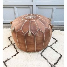 Poufs For Sale Amazing Summer 30% Off Sale  Tan Brown Moroccan Leather Pouf With Tassels 2018