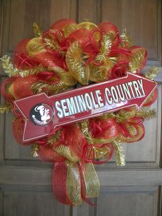 FSU Deco Mesh Wreath in Garnet and Gold