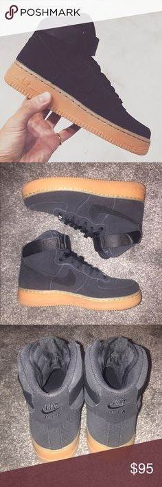 Black Air Force 1, Gum Bottom Only worn once. Perfect condition. No longer have original box. Nike Shoes Sneakers