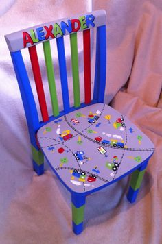 Painted Wooden Chairs, Whimsical Painted Furniture, Hand Painted Furniture, Personalized Kids Chair, Stencil, Time Out Chair, Diy Furniture Projects, Upcycling Projects, Furniture Redo