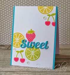 colourQ: colourQ challenge #242 ~ Winner Crowned... - great card to make with all the fruit stamps I own. . .