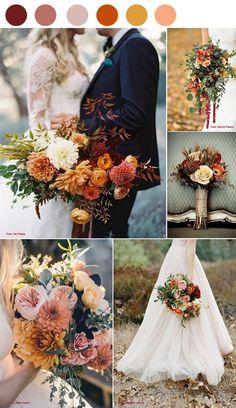 Burnt Orange Weddings, Orange Wedding Colors, Fall Wedding Colors, Fall Wedding Themes, Autumn Wedding Flowers, November Wedding Flowers, September Wedding Colors, Fall Color Schemes, Wedding Color Schemes