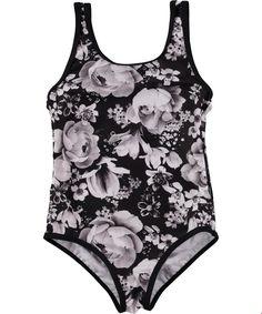 Nika - Black Floral - swimsuit with black flower print