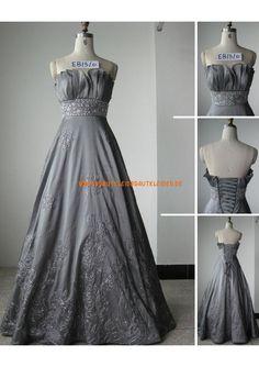 Grau A-linie Elegantes Brautkleid 2013 aus Taft mit Stickerei