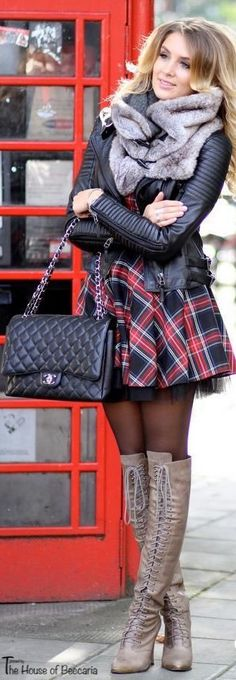 ~London Calling: Tulle Lined Plaid Skirt & Iconic Chanel Quilted Lambskin Bag | House of Beccaria#