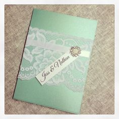Tiffany Blue Rose Pattern Lace Wedding Invitations
