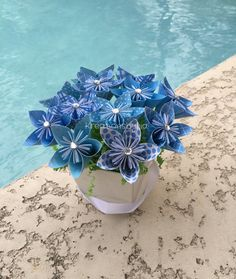 Ocean Breeze//  Kusudama Origami Flower Bouquet/flower Arrangement/ Wedding/ Bridal Shower/ Baby Shower/ Baby Shower/ Reception