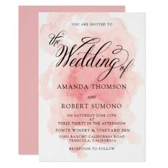 Watercolor Splash of Pink Wedding Invitation - wedding invitations cards custom invitation card design marriage party