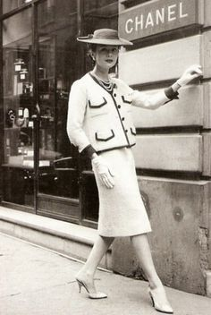 In 1954, Coco Chanel launched the suit as a sort of reaction to the New Look