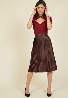 Satin on the Action Midi Skirt. Pass on plans because of ensemble uncertainty? #brown #modcloth
