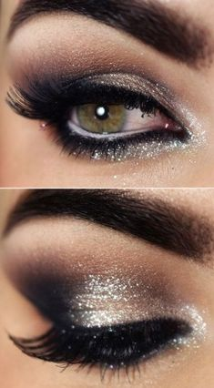 Mooie smoky eyes met een koele tint in verwerkt Met zilver en zwart, dat zorgt voor het effect met de koelere tinten