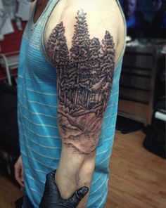 Males Black Ink Tattoo Of Nature Forest Scene Half Sleeve