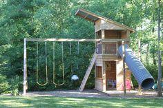 Ideas For Backyard Swing Set Ropes Backyard Swing Sets, Backyard Playground, Backyard For Kids, Toddler Playground, Playground Set, Build A Playhouse, Playhouse Outdoor, Kids Outdoor Play, Kids Play Area